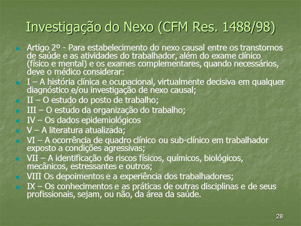 28 Investigação do Nexo (CFM Res. 1488/98) Artigo 2º - Para estabelecimento do nexo causal entre os transtornos de saúde e as atividades do trabalhado