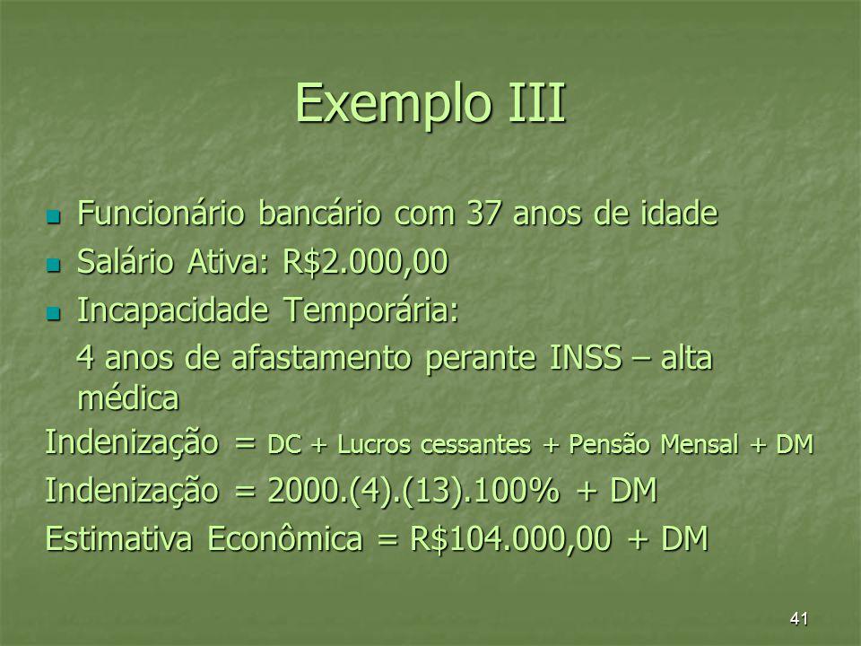 41 Exemplo III Funcionário bancário com 37 anos de idade Funcionário bancário com 37 anos de idade Salário Ativa: R$2.000,00 Salário Ativa: R$2.000,00