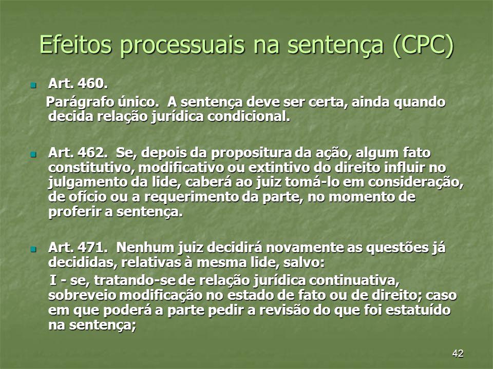 42 Efeitos processuais na sentença (CPC) Art. 460. Art. 460. Parágrafo único. A sentença deve ser certa, ainda quando decida relação jurídica condicio