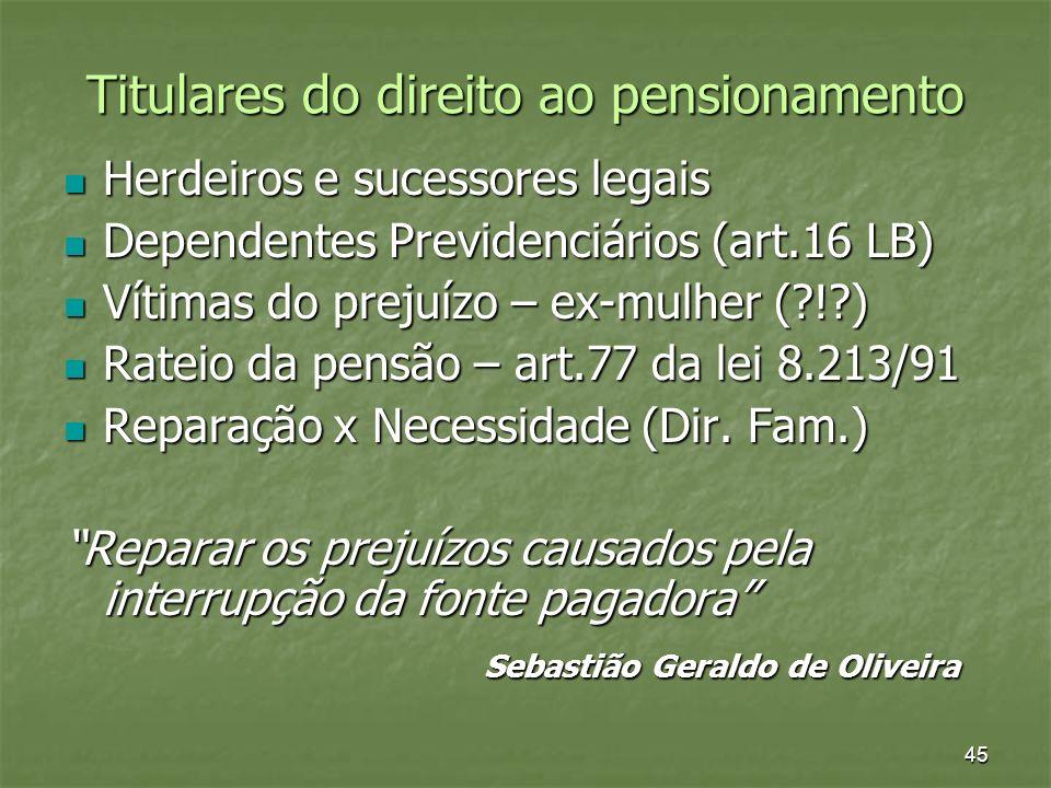 45 Titulares do direito ao pensionamento Herdeiros e sucessores legais Herdeiros e sucessores legais Dependentes Previdenciários (art.16 LB) Dependent