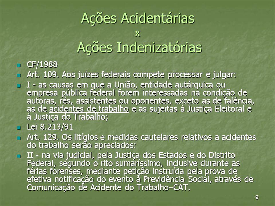 50 Antes e depois da EC 45/2004 Processos ajuizados antes da EC 45 – manutenção do prazo prescricional civil – entendimento pacífico (STF e STJ) Processos ajuizados antes da EC 45 – manutenção do prazo prescricional civil – entendimento pacífico (STF e STJ) Processos Ajuizados após a EC 45 – adota-se o prazo prescricional civil ou trabalhista, dependendo da data do ACIDENTE (TST) Processos Ajuizados após a EC 45 – adota-se o prazo prescricional civil ou trabalhista, dependendo da data do ACIDENTE (TST) Regra de Prescrição: DAT x ciência inequívoca da lesão Regra de Prescrição: DAT x ciência inequívoca da lesão