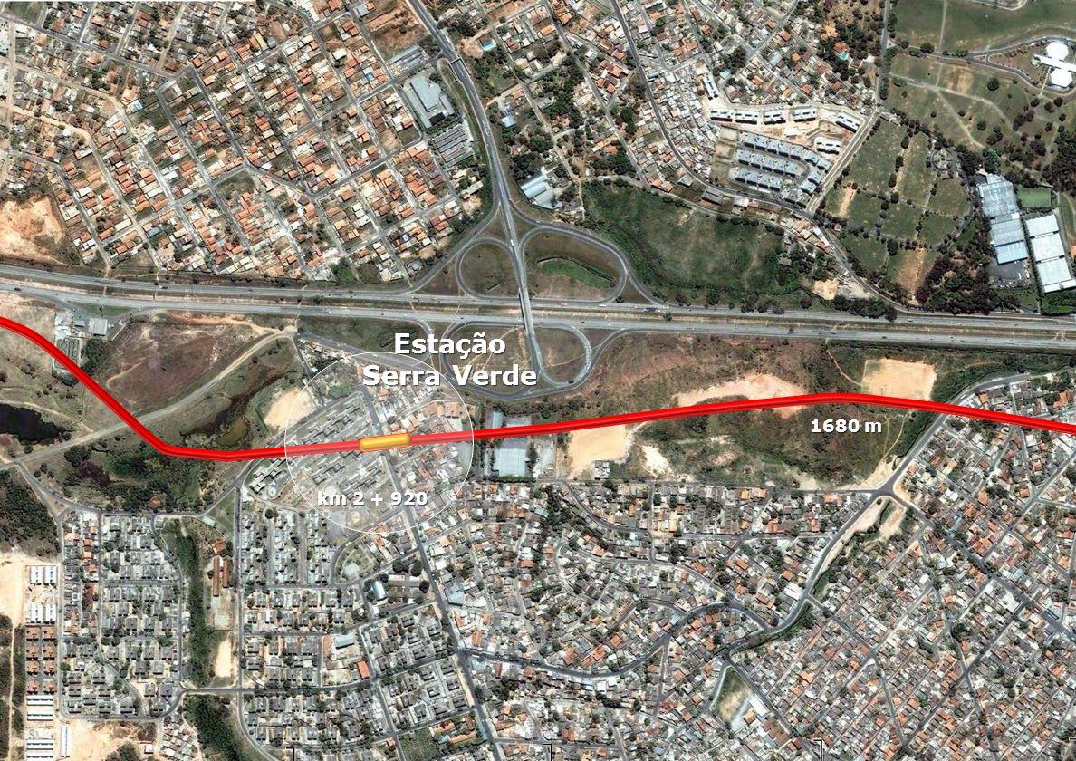 Estação Centro Administrativo Estação Centro Administrativo km 4 + 660 1740 m Extensão Aeroporto de Confins Pátio de Manobras
