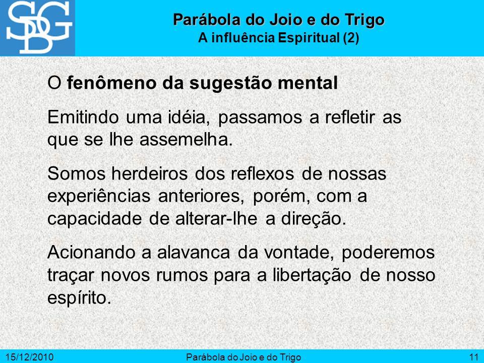 15/12/2010Parábola do Joio e do Trigo11 Parábola do Joio e do Trigo A influência Espiritual (2) O fenômeno da sugestão mental Emitindo uma idéia, pass
