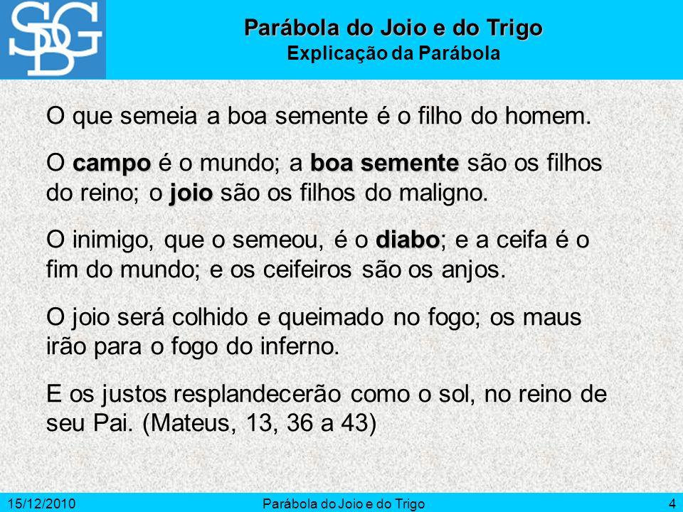 15/12/2010Parábola do Joio e do Trigo5 A Semente e o Campo (1) O campo é a Humanidade.
