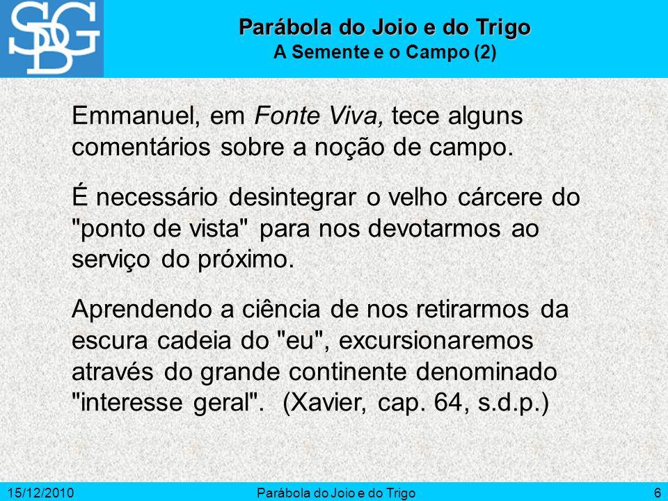 15/12/2010Parábola do Joio e do Trigo6 A Semente e o Campo (2) Emmanuel, em Fonte Viva, tece alguns comentários sobre a noção de campo. É necessário d