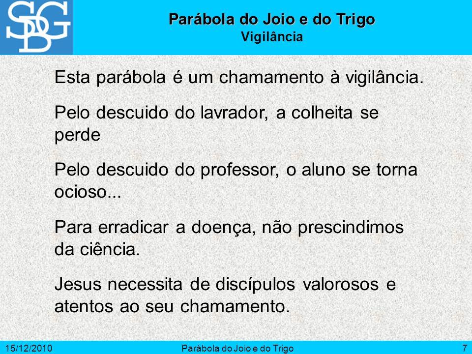 15/12/2010Parábola do Joio e do Trigo7 Vigilância Esta parábola é um chamamento à vigilância. Pelo descuido do lavrador, a colheita se perde Pelo desc