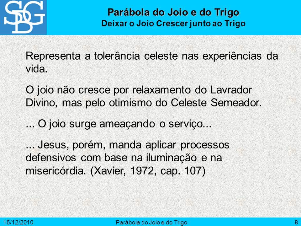 15/12/2010Parábola do Joio e do Trigo8 Representa a tolerância celeste nas experiências da vida. O joio não cresce por relaxamento do Lavrador Divino,