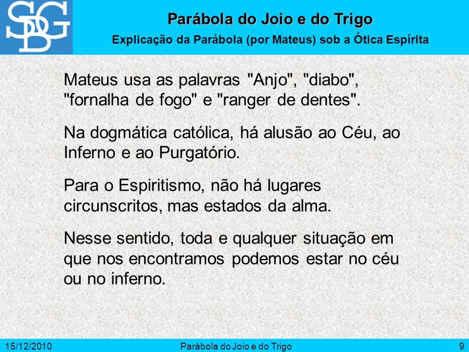 15/12/2010Parábola do Joio e do Trigo10 Parábola do Joio e do Trigo A influência Espiritual (1) Vingança, desespero, paixões e desânimo são algumas das causas da fixação mental.