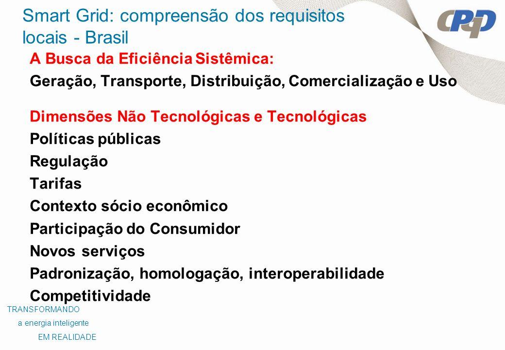 Smart Grid: compreensão dos requisitos locais - Brasil A Busca da Eficiência Sistêmica: Geração, Transporte, Distribuição, Comercialização e Uso Dimen