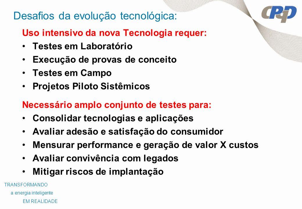 Desafios da evolução tecnológica: Uso intensivo da nova Tecnologia requer: Testes em Laboratório Execução de provas de conceito Testes em Campo Projet