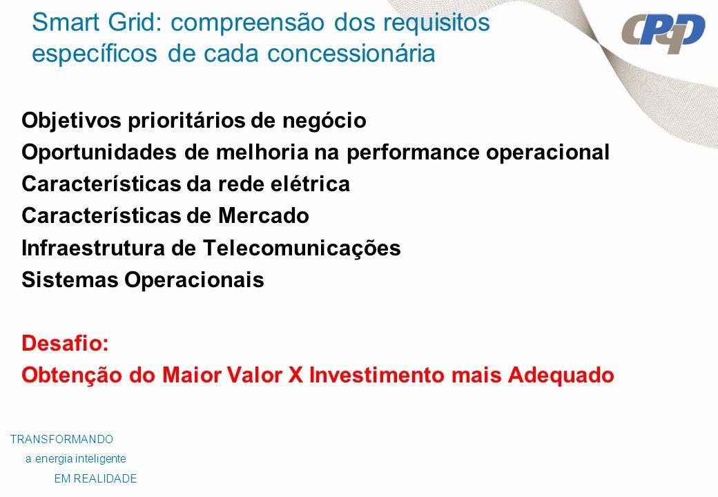 Smart Grid: compreensão dos requisitos específicos de cada concessionária Objetivos prioritários de negócio Oportunidades de melhoria na performance o