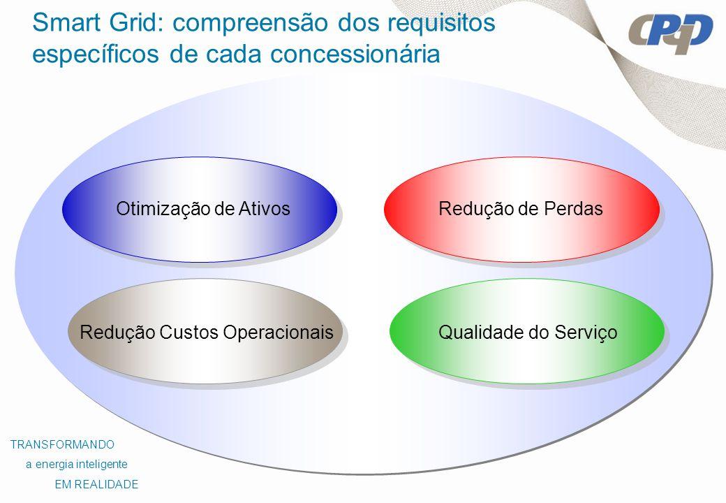 Redução de Perdas Redução Custos Operacionais Otimização de Ativos Qualidade do Serviço TRANSFORMANDO a energia inteligente EM REALIDADE Smart Grid: c
