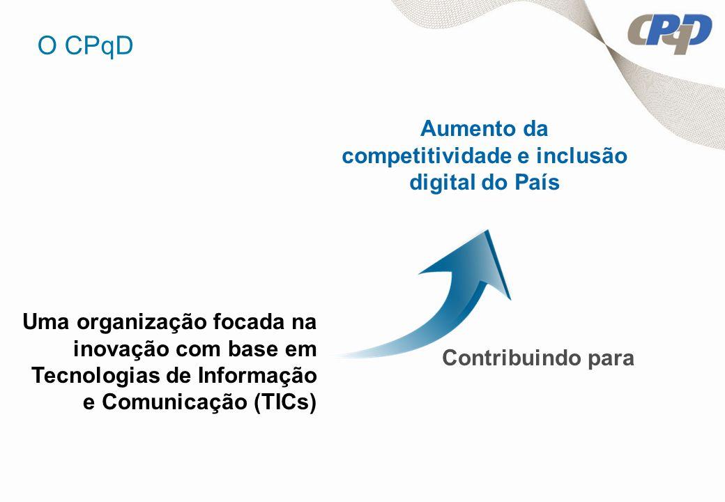 Uma organização focada na inovação com base em Tecnologias de Informação e Comunicação (TICs) Aumento da competitividade e inclusão digital do País Co