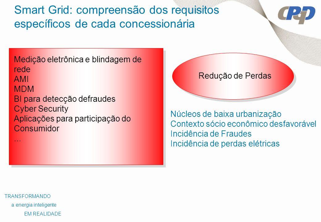 Redução de Perdas Medição eletrônica e blindagem de rede AMI MDM BI para detecção defraudes Cyber Security Aplicações para participação do Consumidor.
