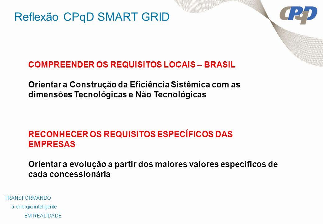 Reflexão CPqD SMART GRID COMPREENDER OS REQUISITOS LOCAIS – BRASIL Orientar a Construção da Eficiência Sistêmica com as dimensões Tecnológicas e Não T
