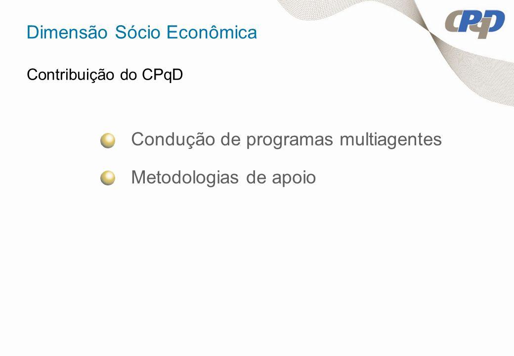 Dimensão Sócio Econômica Contribuição do CPqD Condução de programas multiagentes Metodologias de apoio