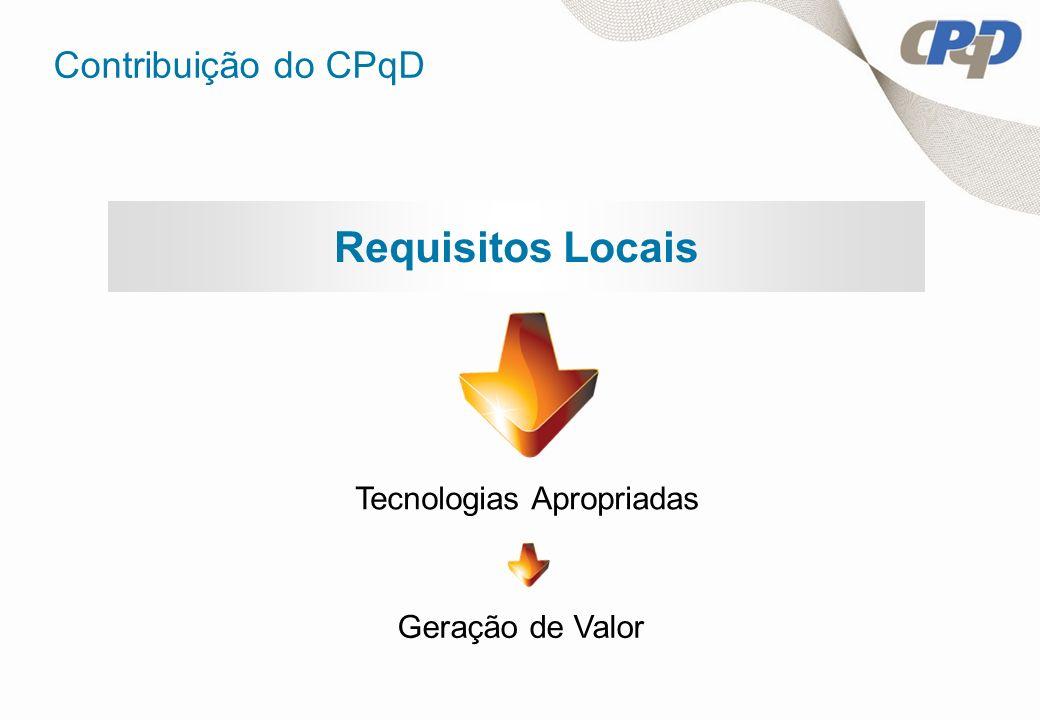 Requisitos Locais Contribuição do CPqD Geração de Valor Tecnologias Apropriadas