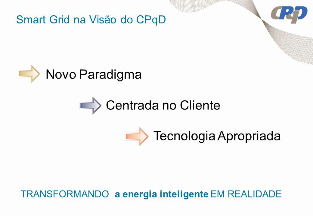 Smart Grid na Visão do CPqD Novo Paradigma Centrada no Cliente Tecnologia Apropriada TRANSFORMANDO a energia inteligente EM REALIDADE