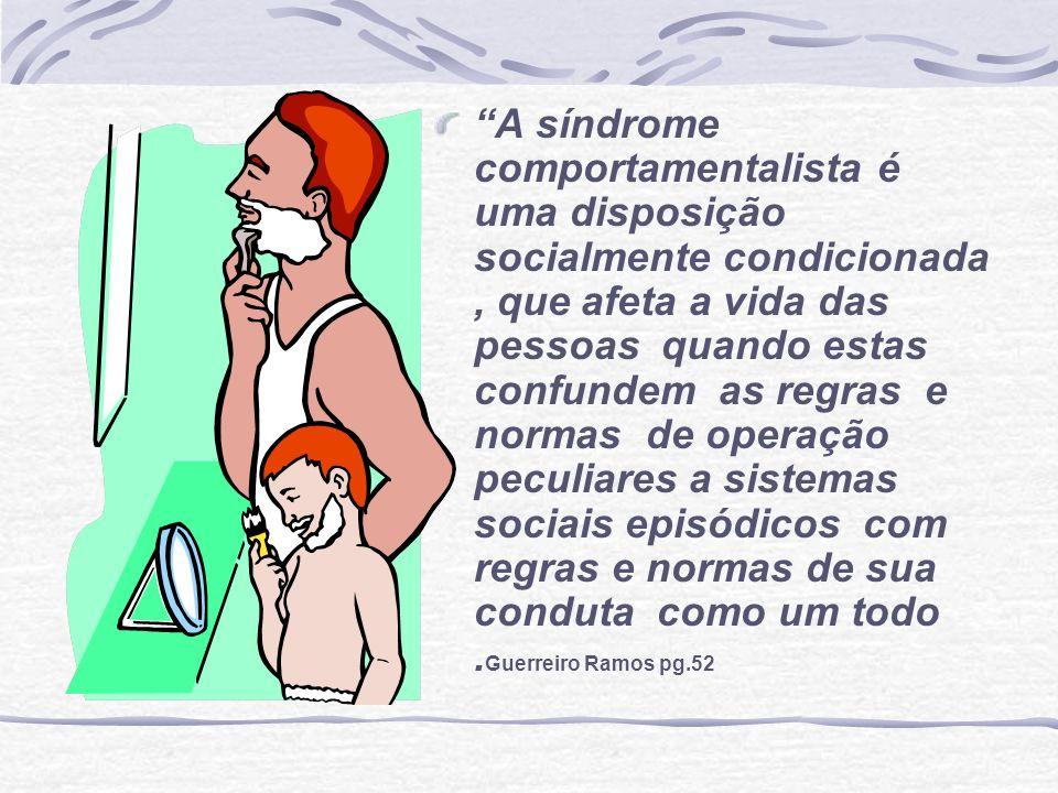 A síndrome comportamentalista é uma disposição socialmente condicionada, que afeta a vida das pessoas quando estas confundem as regras e normas de ope