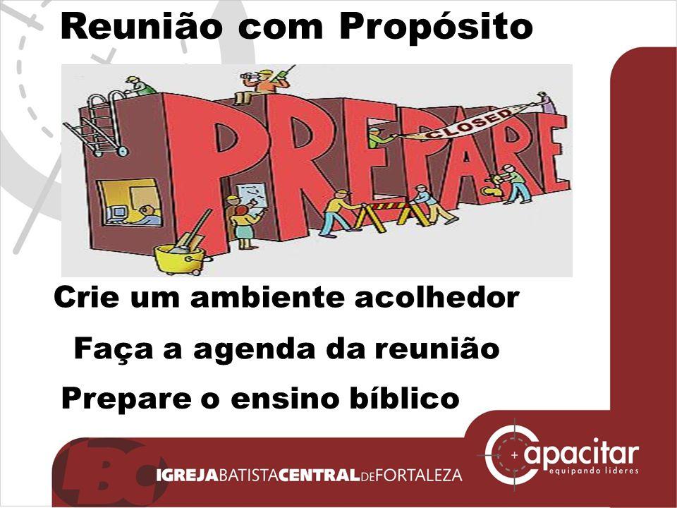 Click to edit Master subtitle style Faça a agenda da reunião Prepare o ensino bíblico Crie um ambiente acolhedor Reunião com Propósito