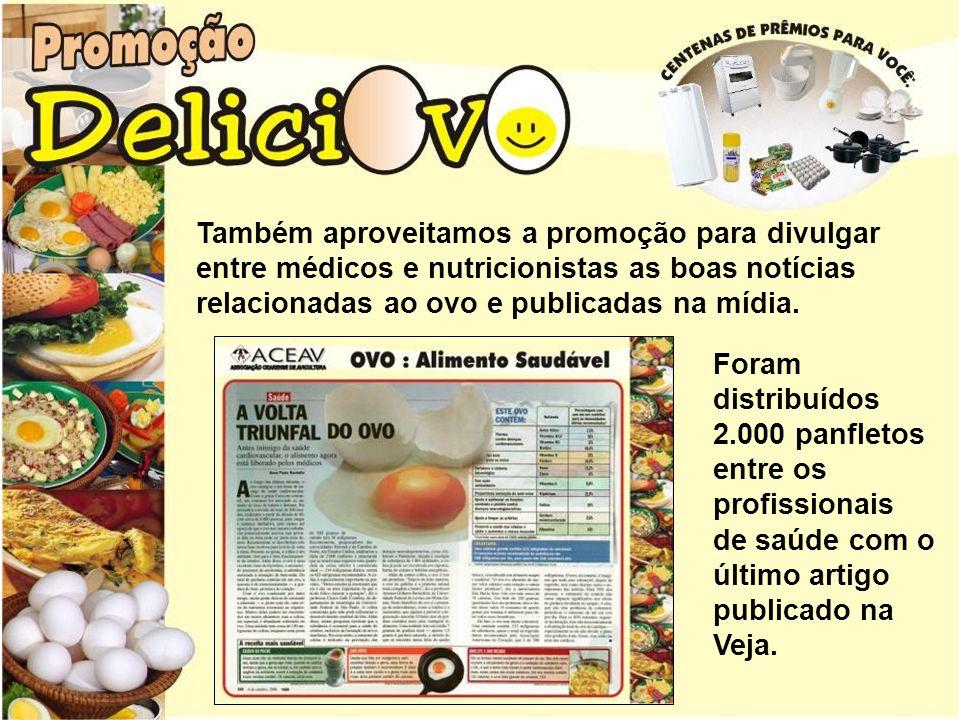 Também aproveitamos a promoção para divulgar entre médicos e nutricionistas as boas notícias relacionadas ao ovo e publicadas na mídia.