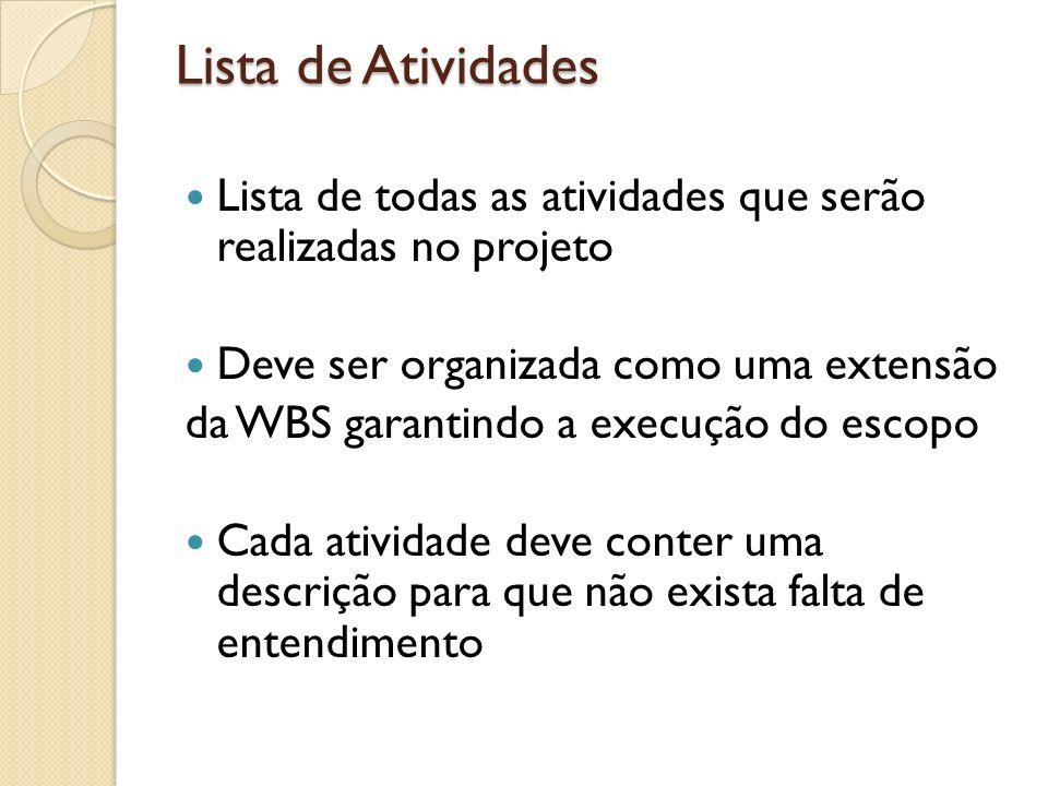 Lista de Atividades Lista de todas as atividades que serão realizadas no projeto Deve ser organizada como uma extensão da WBS garantindo a execução do