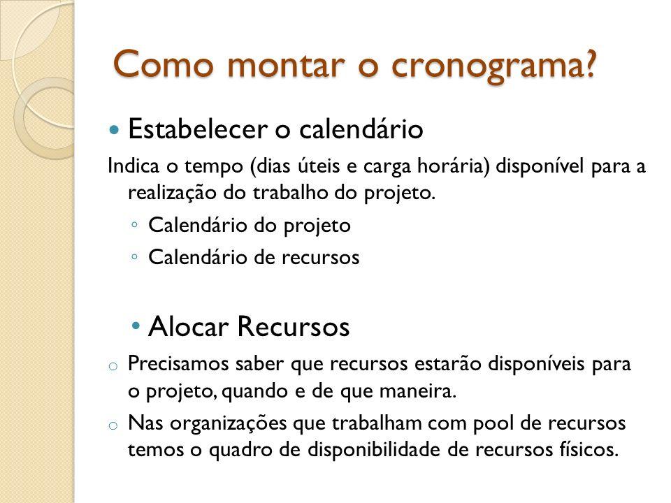 Como montar o cronograma? Estabelecer o calendário Indica o tempo (dias úteis e carga horária) disponível para a realização do trabalho do projeto. Ca