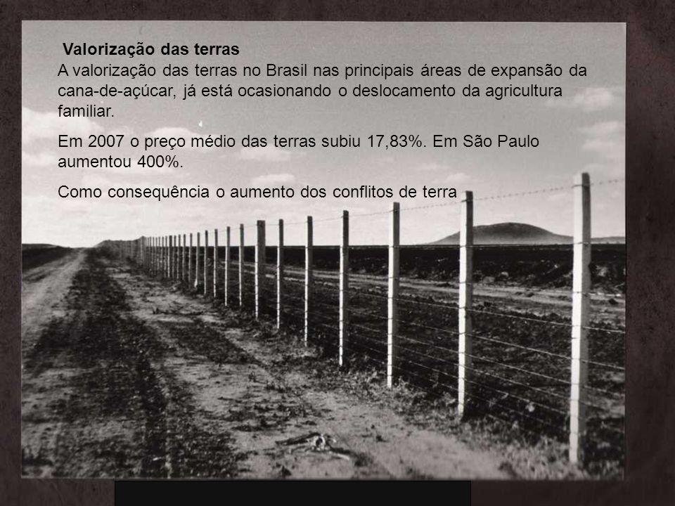 A valorização das terras no Brasil nas principais áreas de expansão da cana-de-açúcar, já está ocasionando o deslocamento da agricultura familiar. Em