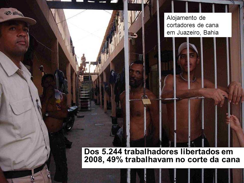 Dos 5.244 trabalhadores libertados em 2008, 49% trabalhavam no corte da cana Alojamento de cortadores de cana em Juazeiro, Bahia