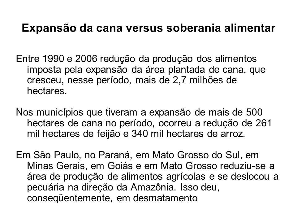 Entre 1990 e 2006 redução da produção dos alimentos imposta pela expansão da área plantada de cana, que cresceu, nesse período, mais de 2,7 milhões de