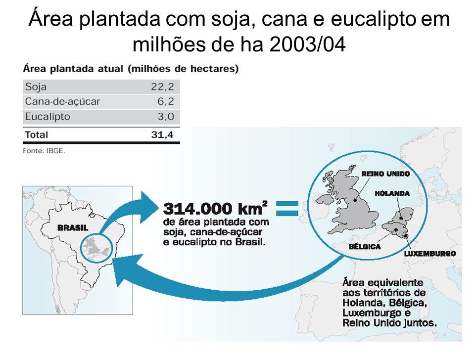 Área plantada com soja, cana e eucalipto em milhões de ha 2003/04