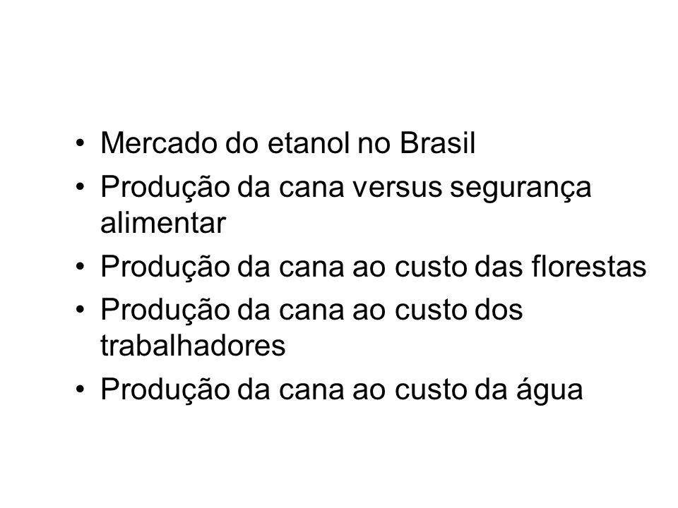 Mercado do etanol no Brasil Produção da cana versus segurança alimentar Produção da cana ao custo das florestas Produção da cana ao custo dos trabalha