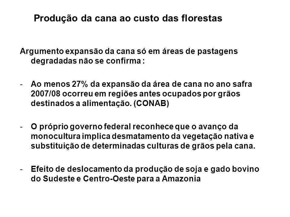 Argumento expansão da cana só em áreas de pastagens degradadas não se confirma : -Ao menos 27% da expansão da área de cana no ano safra 2007/08 ocorre