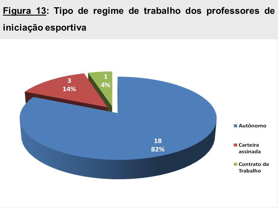 Figura 13: Tipo de regime de trabalho dos professores de iniciação esportiva