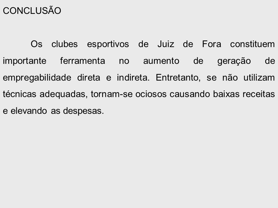 CONCLUSÃO Os clubes esportivos de Juiz de Fora constituem importante ferramenta no aumento de geração de empregabilidade direta e indireta.