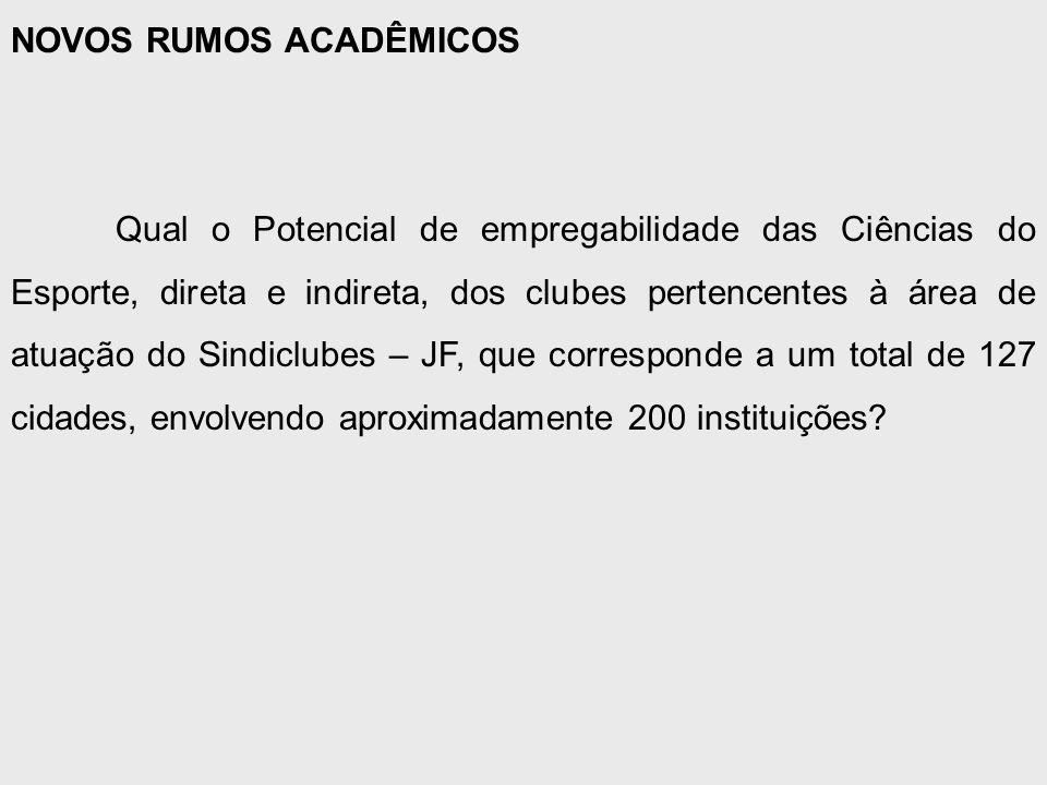 NOVOS RUMOS ACADÊMICOS Qual o Potencial de empregabilidade das Ciências do Esporte, direta e indireta, dos clubes pertencentes à área de atuação do Sindiclubes – JF, que corresponde a um total de 127 cidades, envolvendo aproximadamente 200 instituições