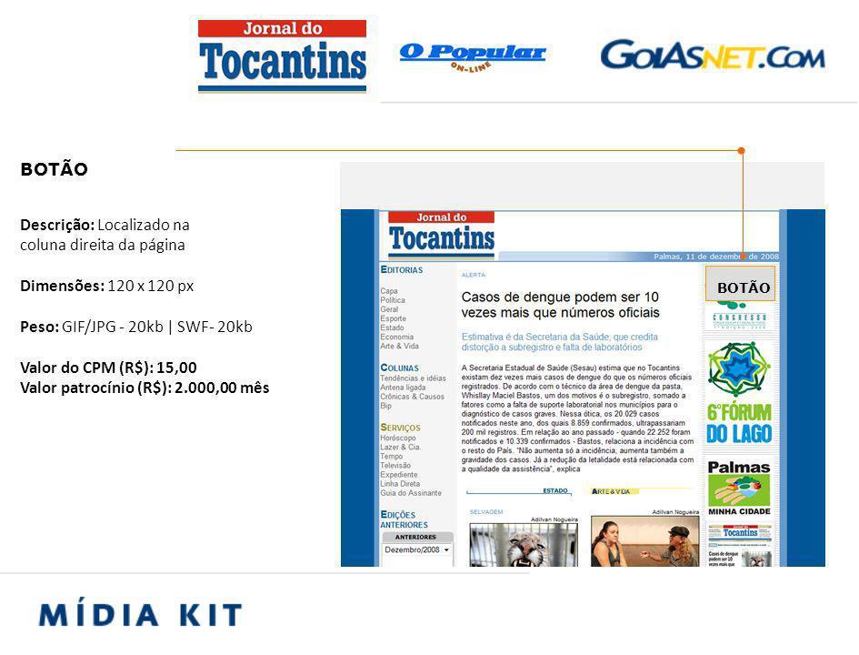 ACESSO / PÚBLICO page views totais mensais Jornal do Tocantins Online 400.000 visitantes/mês:150.000
