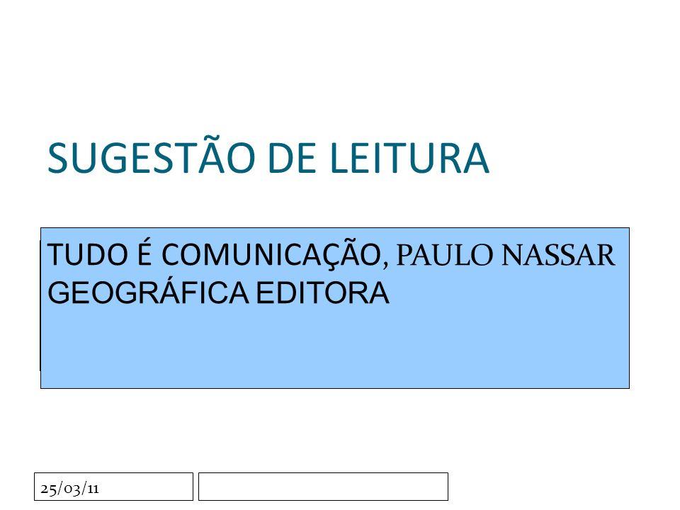 Clique para editar o estilo do subtítulo mestre 25/03/11 SUGESTÃO DE LEITURA TUDO É COMUNICAÇÃO, PAULO NASSAR GEOGRÁFICA EDITORA