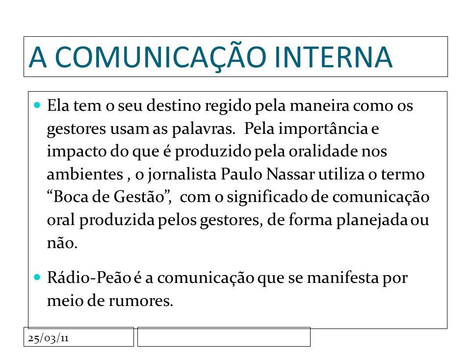 25/03/11 Comunicação interna é a ferramenta que vai permitir que a gestão torne comuns as mensagens destinadas a motivar, estimular, considerar, diferenciar, promover, premiar e agrupar os integrantes de uma organização.