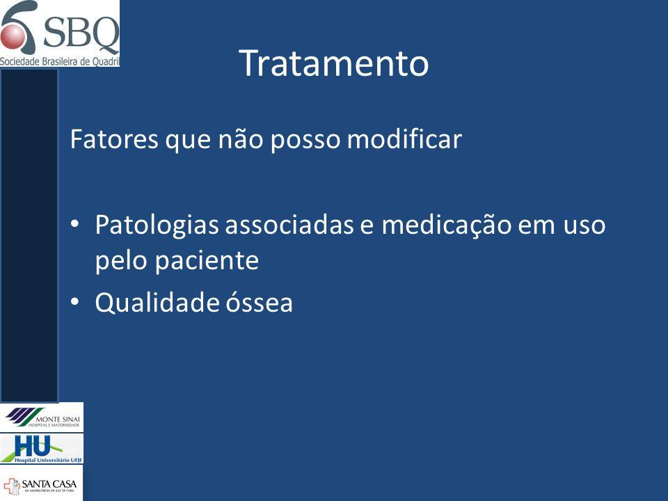Tratamento Fatores que não posso modificar Patologias associadas e medicação em uso pelo paciente Qualidade óssea