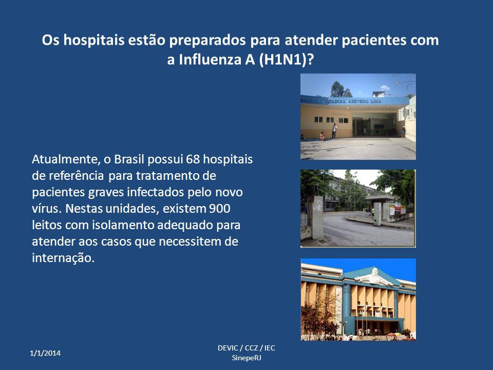 Atualmente, o Brasil possui 68 hospitais de referência para tratamento de pacientes graves infectados pelo novo vírus. Nestas unidades, existem 900 le