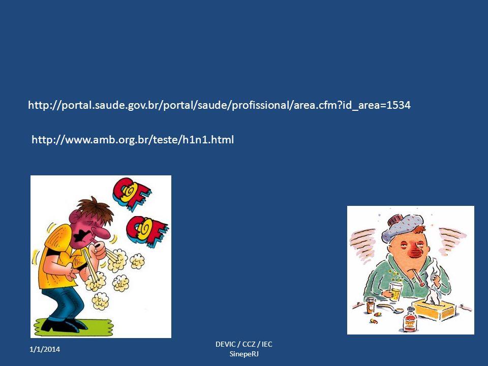 http://portal.saude.gov.br/portal/saude/profissional/area.cfm?id_area=1534 http://www.amb.org.br/teste/h1n1.html 1/1/2014 DEVIC / CCZ / IEC SinepeRJ