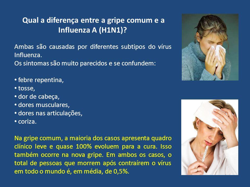 Qual a diferença entre a gripe comum e a Influenza A (H1N1)? Ambas são causadas por diferentes subtipos do vírus Influenza. Os sintomas são muito pare