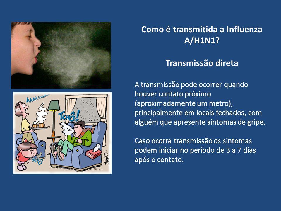 Como é transmitida a Influenza A/H1N1? Transmissão direta A transmissão pode ocorrer quando houver contato próximo (aproximadamente um metro), princip