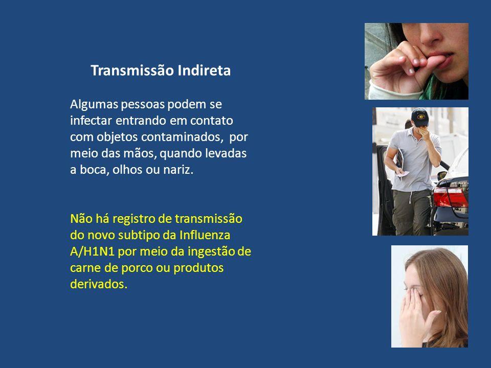 Transmissão Indireta Algumas pessoas podem se infectar entrando em contato com objetos contaminados, por meio das mãos, quando levadas a boca, olhos o