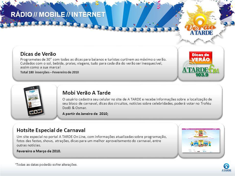 RÁDIO // MOBILE // INTERNET *Todas as datas poderão sofrer alterações. Hotsite Especial de Carnaval Um site especial no portal A TARDE On Line, com in