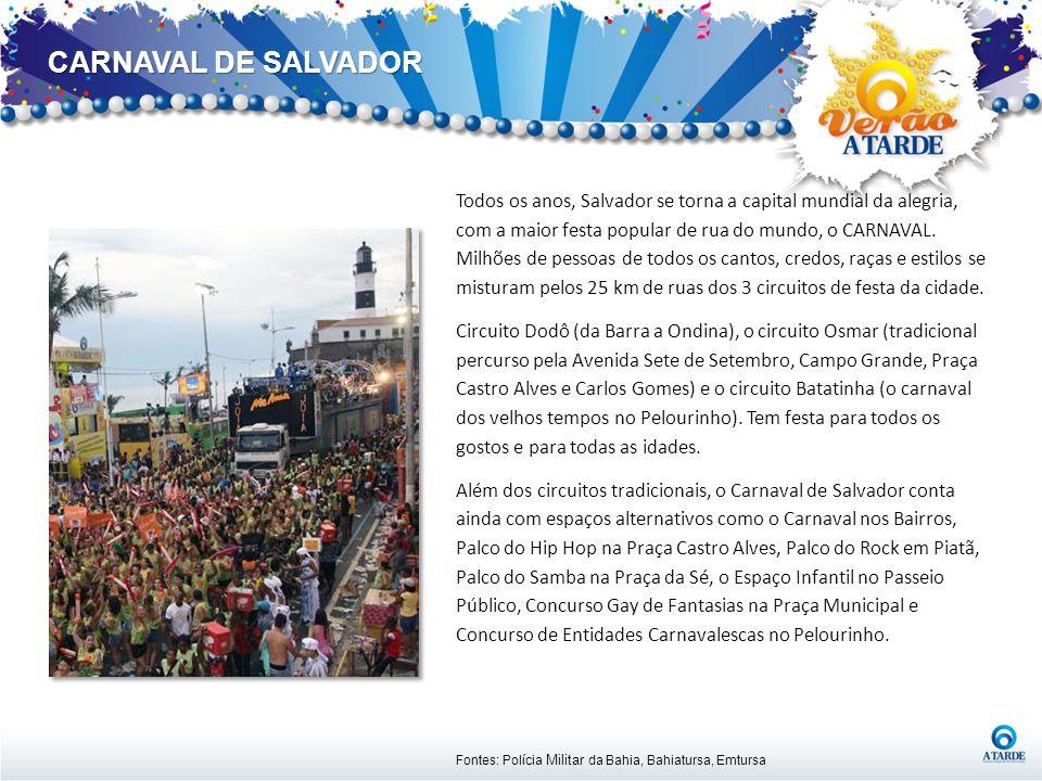 CARNAVAL DE SALVADOR Fontes: Polícia Militar da Bahia, Bahiatursa, Emtursa Todos os anos, Salvador se torna a capital mundial da alegria, com a maior