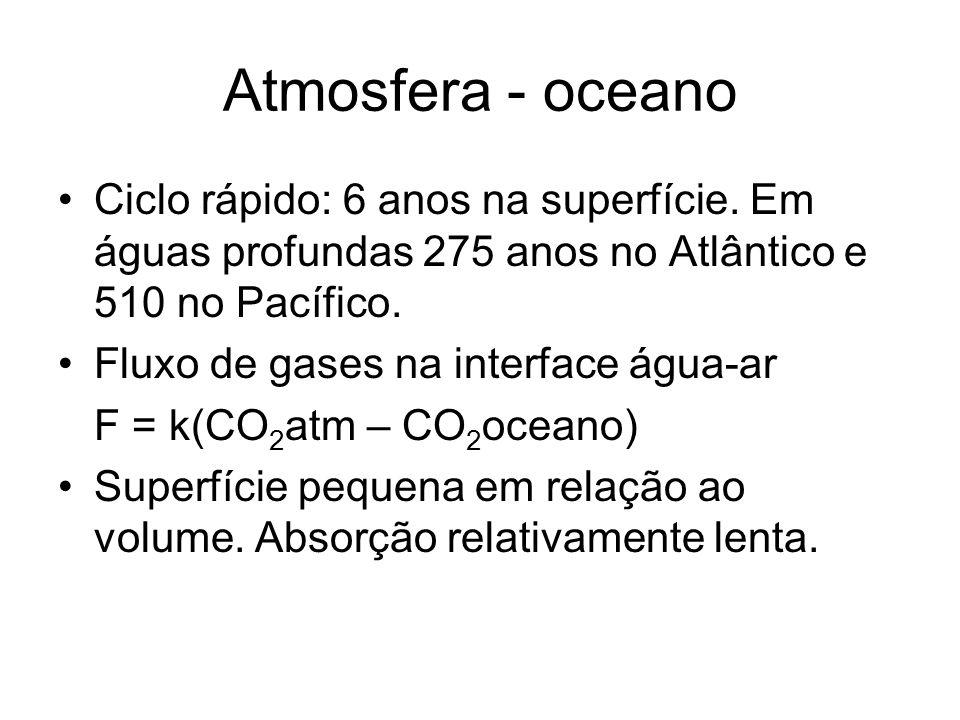 Atmosfera - oceano Ciclo rápido: 6 anos na superfície. Em águas profundas 275 anos no Atlântico e 510 no Pacífico. Fluxo de gases na interface água-ar