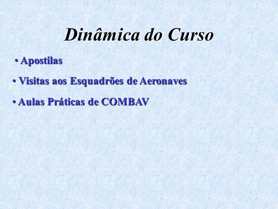 Dinâmica do Curso Apostilas Apostilas Visitas aos Esquadrões de Aeronaves Visitas aos Esquadrões de Aeronaves Aulas Práticas de COMBAV Aulas Práticas de COMBAV