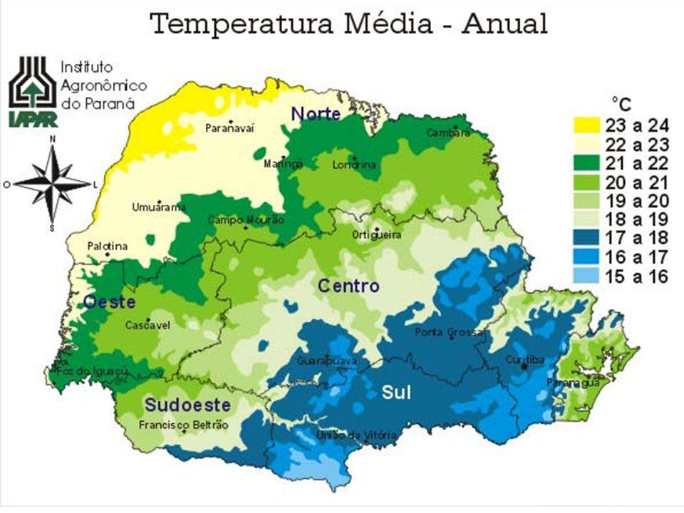 RESUMO SOBRE O CLIMA SUBTROPICAL PREDOMINANTE NO SUL DO PAÍS nevegeadas - O Sul do Brasil é uma região com ocorrência dos fenômenos como neve e geadas (fatores: maiores latitudes do país e áreas com elevadas altitudes); 4 estações do ano bem definidas - Apresenta as 4 estações do ano bem definidas; chuvas são bem distribuídas - as chuvas são bem distribuídas ao longo do ano, apresentando uma pluviosidade média de 1400 mm/ano; - A temperatura média anual varia de 13°C na serra catarinense a 21°C no norte do Paraná; clima de maior amplitude térmica do Brasil - As temperaturas mínimas registradas são em média de -5°C (áreas serranas) e as máximas chegam a 37°C (centro oeste gaúcho) – clima de maior amplitude térmica do Brasil.